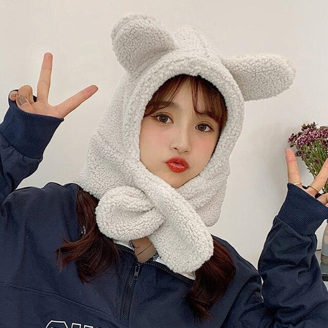зимний аксессуар милая шапка с шарфом в корейском стиле теплый фотография