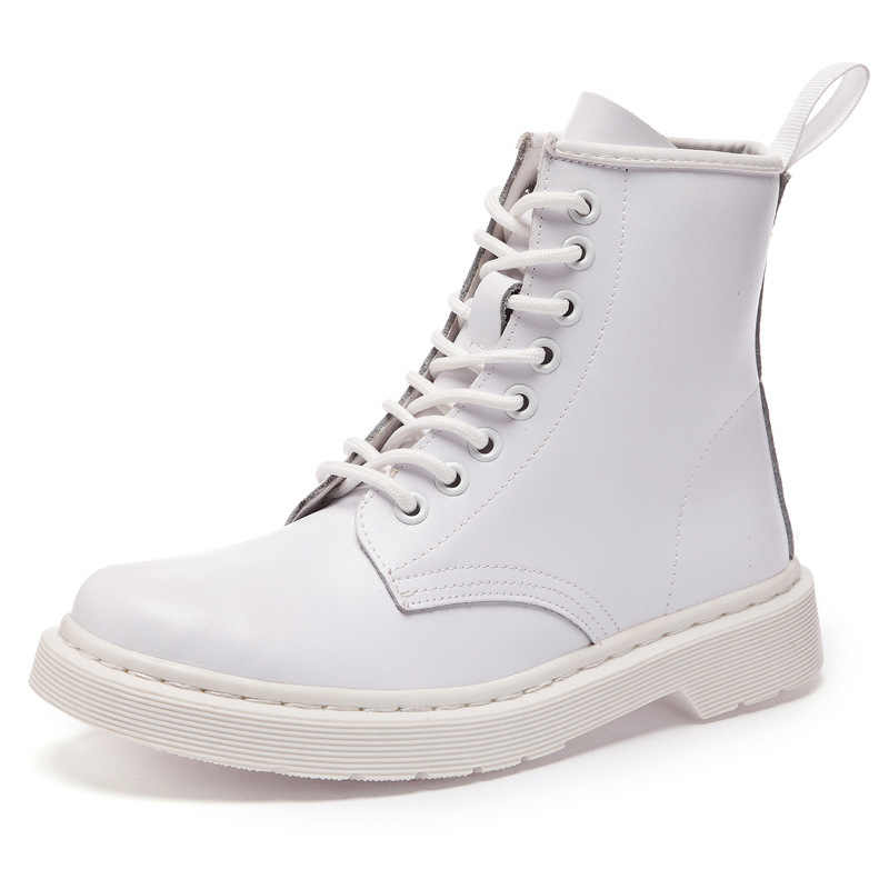 ใหม่ 2019 รองเท้าบู๊ทรองเท้าหนังแท้สำหรับสุภาพสตรี DR รถจักรยานยนต์รองเท้าอุ่นฤดูหนาวคู่รองเท้า Zapatos mujer