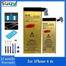 Suqy para iphone 4 bateria para iphone 4S para iphone 4 4S baterias acumulador bateria ferramentas de reparo fazer telefone