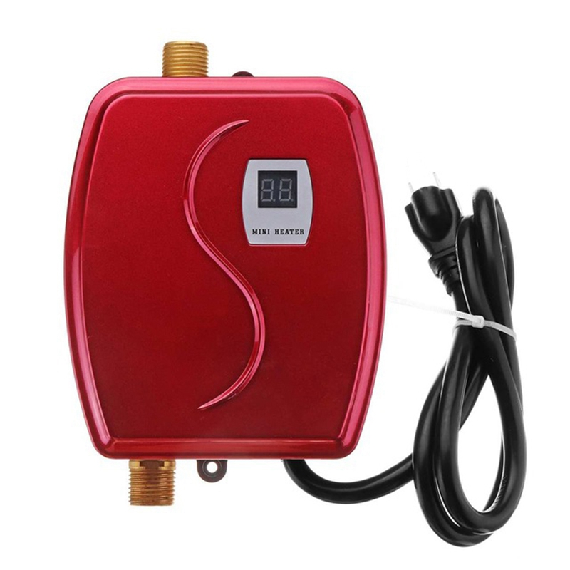 3000W Water Heater Mini Tankless Instant Hot Faucet Kitchen Heating Thermostat Intelligent Energy Saving Waterproof US Plug-Red