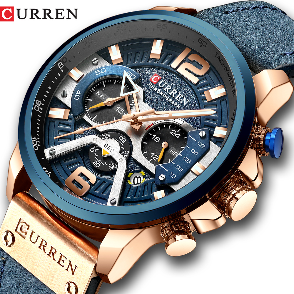 CURREN Casual Sport Watches for Men Blue Top Brand Luxury Military Leather Wrist Watch Man Clock Fashion Chronograph Wristwatch analog watch