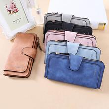 Women PU Leather Wallets Clutch Geometric Zipper Long Scrub Wallet Female Card Holder Multiple Slots Retro
