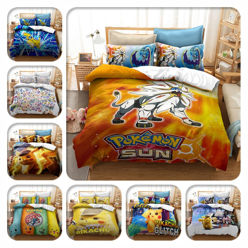 Home Textile 3d Pokemon Bedding Set Children Pikachu Solgaleo Printed Duvet Cover Sets Twin Full Queen King Bed Linen Bedclothes