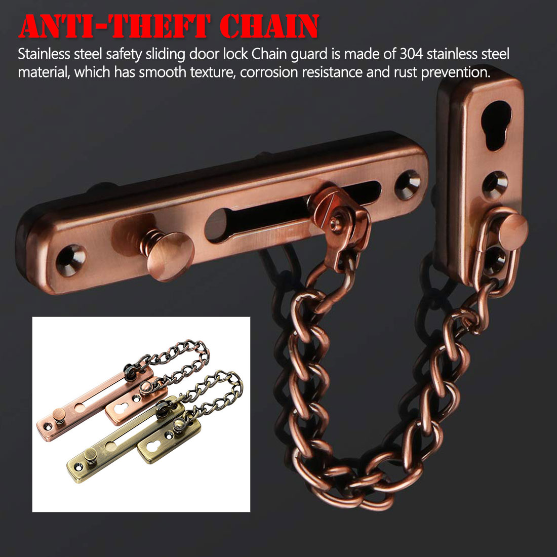 Stainless Steel Security Door Chain Lock Anti-theft Door Chain Door Latch Silver Bronze Gold Black  Door Lock Hardware