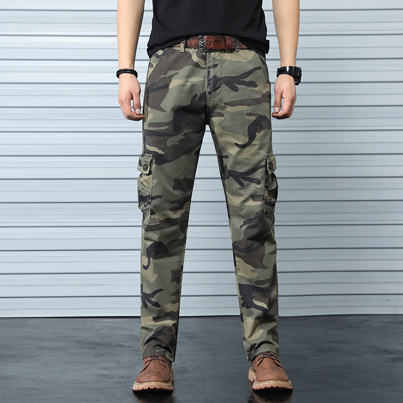 Men Men's Cargo Pants Tactical Male Overalls Training Combat Army Military Pants Many Multi-Pocket Solid Woodland Camo Side