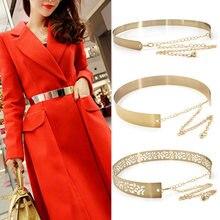 Moda donna regolabile cintura in metallo Bling oro argento colore piatto Vintage Lady catene semplici cinture specchio cintura 2020