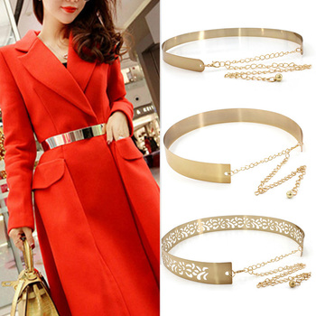 Fashion Women Adjustable Metal Waist Belt Bling Gold Silver Color Plate Vintage Lady Simple Chains Belts Mirror Waistband 2020