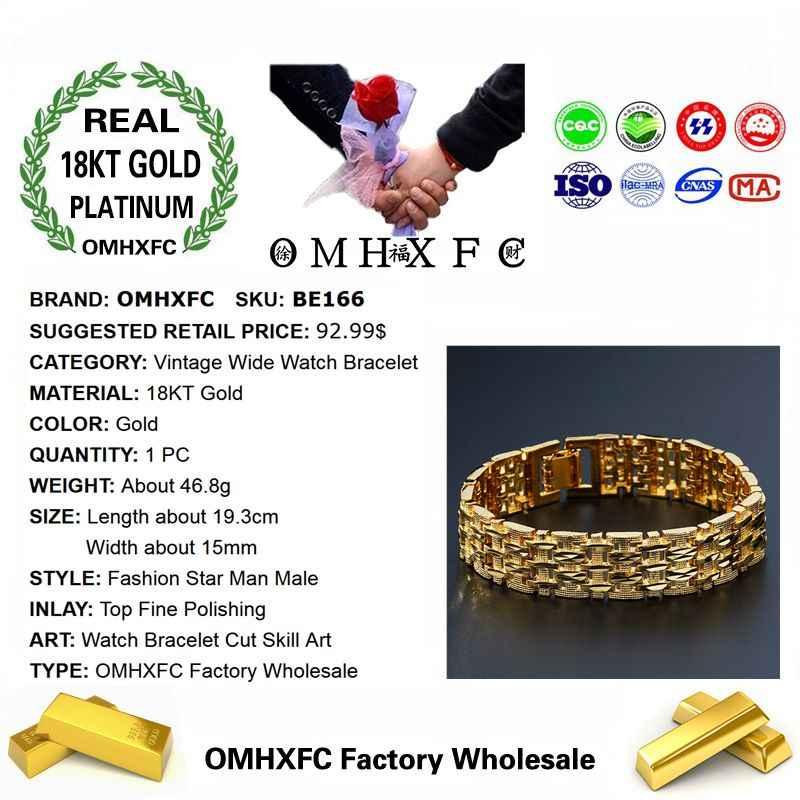OMHXFCขายส่งยุโรปแฟชั่นชายวันเกิดงานแต่งงานของขวัญVintageกว้างนาฬิกา 18KT Goldสร้อยข้อมือBE166