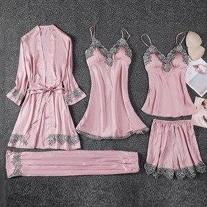 Image 4 - 女性5個パジャマセット女性のセクシーなレースのローブスーツ入浴ガウン絹のようなサテンナイトウェアパジャマスーツ夏のカジュアルパジャマ睡眠セット