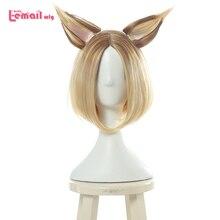 L e mail perücke Spiel LOL KDA Ahri Cosplay Perücken K/DA Prestige Edition Kurze Mischfarbe Cosplay Perücke hitze Beständig Synthetische Haar