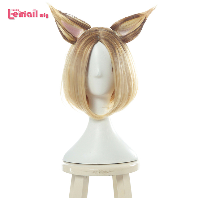 L email wig Game LOL KDA Ahri Cosplay Wigs K/DA Prestige Edition Short Mixed Color Cosplay Wig Heat Resistant Synthetic Hair