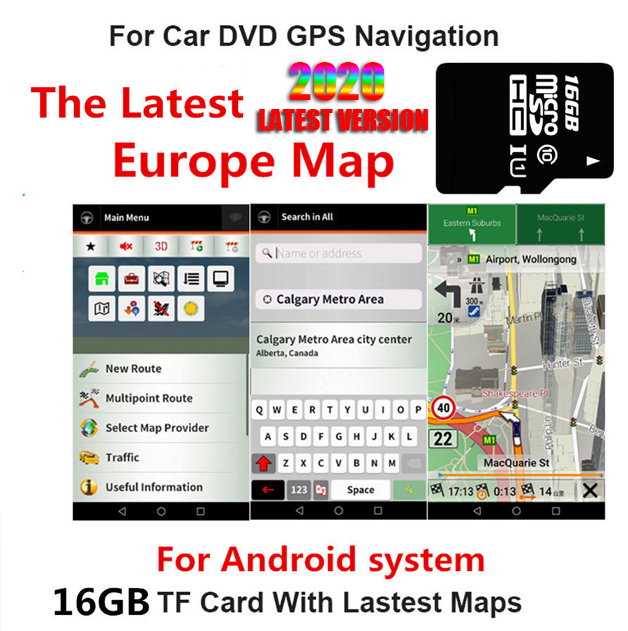 16GB Euro Map Micro Sd Card Only for Android System Car Gps Navigation The Latest 2020 Map of Europe