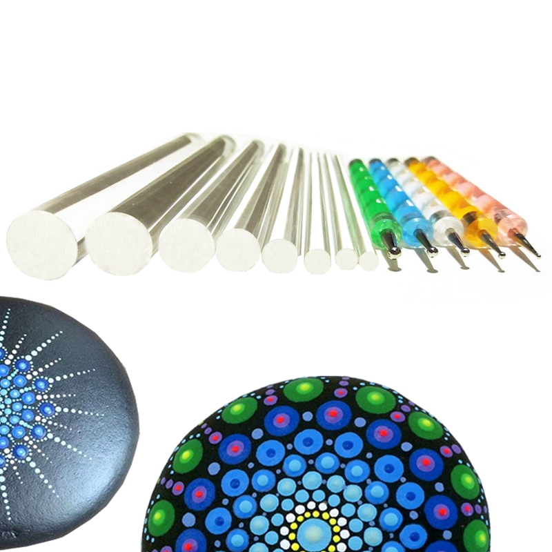 Mandala Dotting Tools Set For Painting Rocks,Painting Rocks Dot Kit, Rock Stone Painting Pen Polka Dot Tool Template Cosmetic