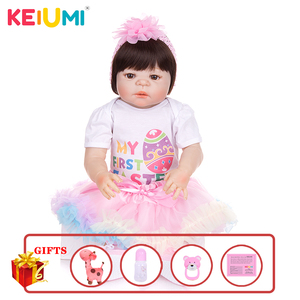 Image 1 - KEIUMI New Arrival Toy Reborn Baby Dolls Full Silicone Vinyl Body Lifelike 23 Inch Babies Dolls Girl Birthday Gift For Sale