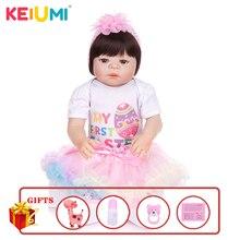 KEIUMI, recién llegado, juguete Reborn, muñecas de bebé, cuerpo completo de vinilo de silicona, realista, muñecas de bebés de 23 pulgadas, regalo de cumpleaños para niña, en venta