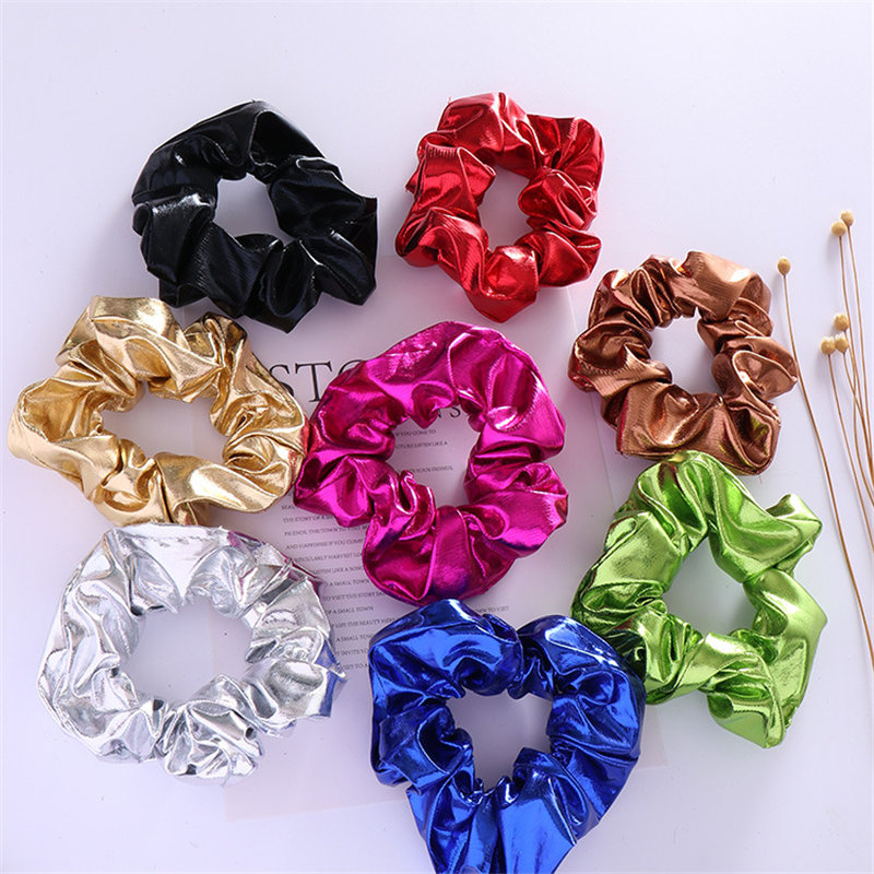 1 Or 2 PCS Women Pu Leather Gold Scrunchie Vintage Ponytail Holder Elastic Hair Ties For Girl Glitter Scrunchie Hair Accessories