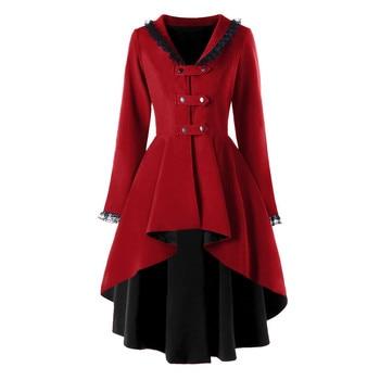 trench Coat Swallow tail Irregular Lace Women Top Retro Outwear Casual slim Long Sleeve streetwear Splice Formal femme Coat FA