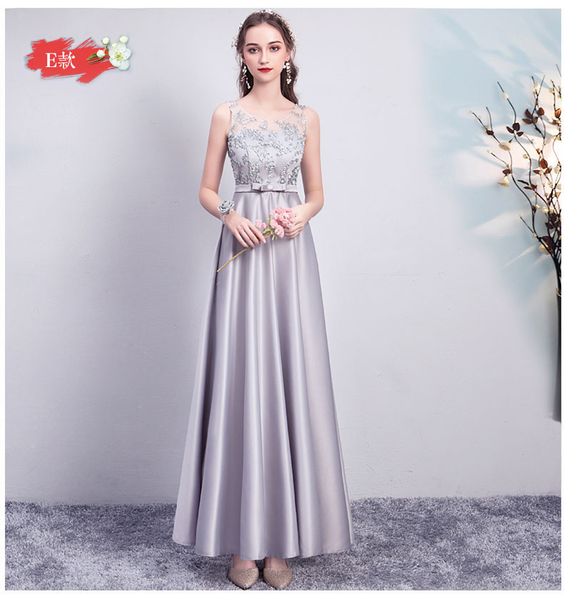 Gray Bridesmaid Dress Elegant Maid Of Honor Dresses For Weddings Sashes Sleeveless Floor-Length Long Simple Dress Sexy Prom Club
