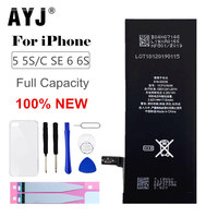 New Original AYJ AAAAA Quality Phone Battery for iphone 5 5S 5C SE 6 6S High Real Capacity Zero Cycel With Repair Tools Kit