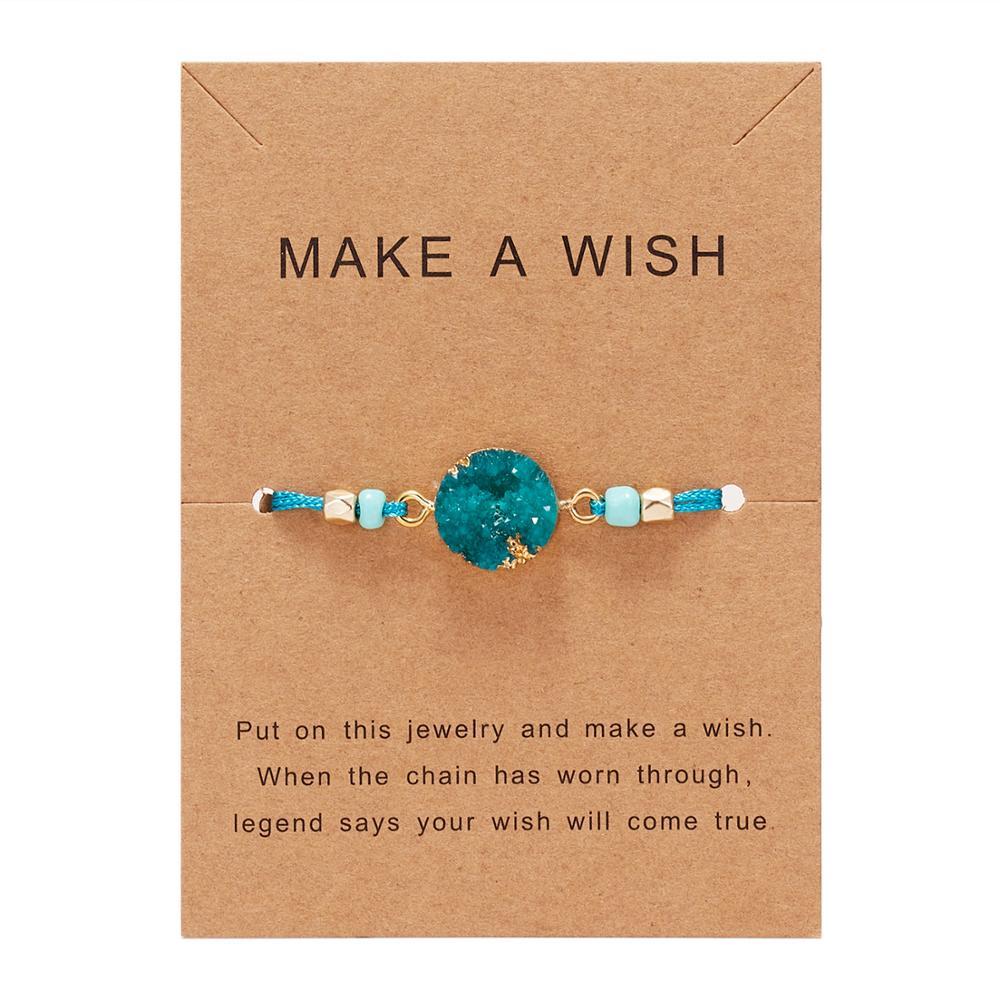 Натуральный камень Новая 7 цветная подвеска тканый браслет с картой Загадай желание регулируемый браслет из веревки для женщин очаровательные подарочные украшения - Окраска металла: 9