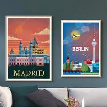 Espanha madrid touradas berlim alemanha viagens quadros em tela da parede do vintage kraft posters revestido adesivos de parede decoração casa presente