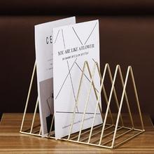 Нордический треугольник простой из кованого железа Настольный стеллаж для хранения Офисная Книжная Полка журнал Газета Стеллаж для хранения