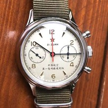 Retro Sapphire Men Mechanical Chronograph Watches ST1901 Hand Winding NATO Nylon