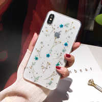 Qianliyao Glitter Dried Flower Phone Case For Huawei P30 P20 Mate 30 20 Pro Fashion Real Flowers Transparent Soft TPU Back Cover