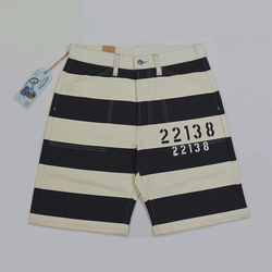 BOB DONG Vintage Prisoner Style 22138 Print Shorts 16oz Motorcycle Striped Pants