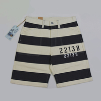 BOB DONG Vintage Prisoner Style 22138 Print Shorts 16oz Motorcycle Striped Pants