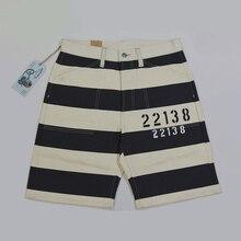 Bob Dong Vintage Gevangene Stijl 22138 Print Shorts 16 Oz Motorfiets Gestreepte Broek
