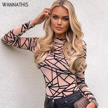 купить WannaThis Mesh Bodysuit Women Pattern Print Long Sleeve Autumn 2019 Mock Neck Sexy Skinny Fashion Club Voile Bodycon Bodysuit дешево