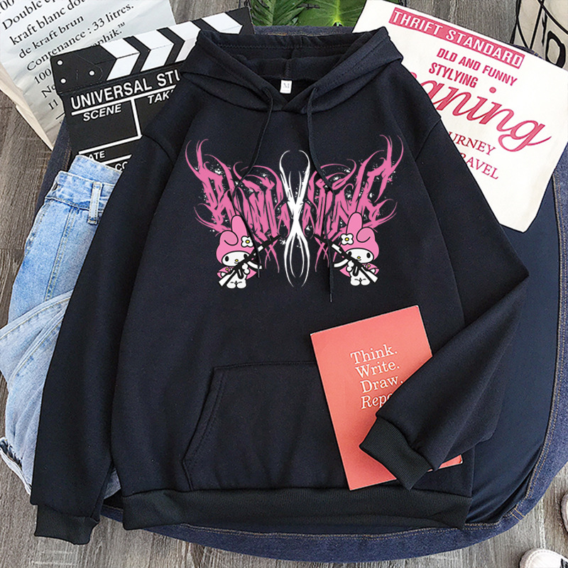 New mymelody dark women's hooded long-sleeved trendy gothic style plus cashmere winter Harajuku style hooded sweatshirt 10