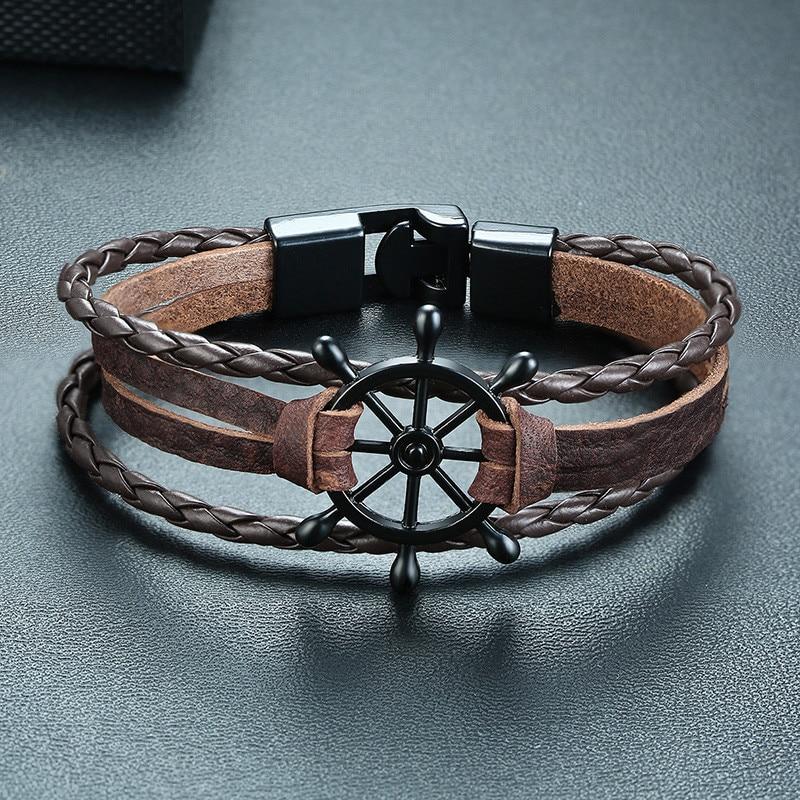 Bracelet en cuir gouvernail  6