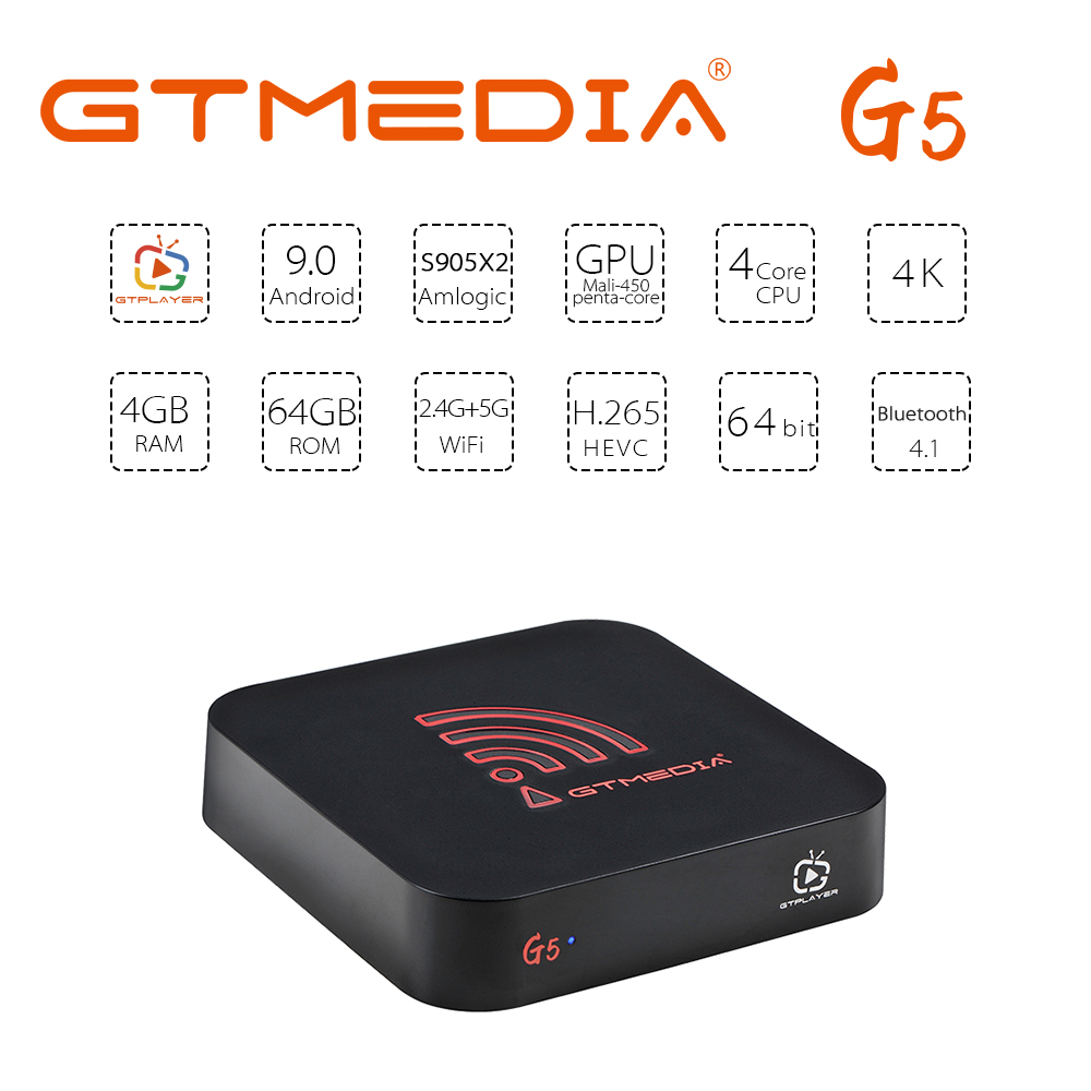 Smart TV BOX GTmedia G5 Android 9.0 Box Quad Core 4GB RAM 64GB 2.4G&5G WIFI 4K HD BT OTA Media Google Play Set Top Box PK H96MAX