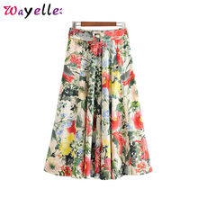 Women Floral Print Pleated Skirt Beach Style Sashes Pleated Back Zipper Fly Midi Skirt Design Female Stylish Casual A-line Skirt все цены