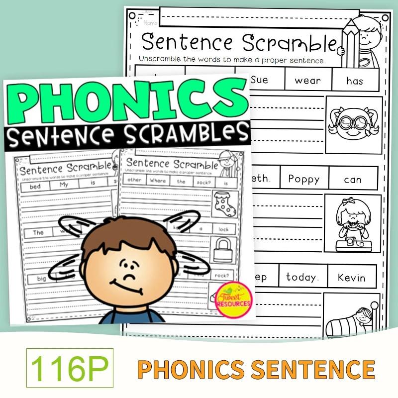 Phonics Sentence Scrambles For Kindergarten And First Grade Worksheets  Preschool Learn English Words Passages Workbooks Kids- AliExpress