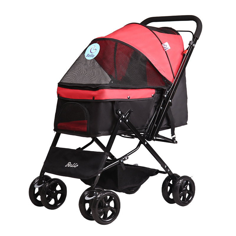 Pet Supplies Stylish and Beautiful Four Wheel Cart Cat Dog  Outdoor Travel Small Pets Stroller Two Way Foldable Durable