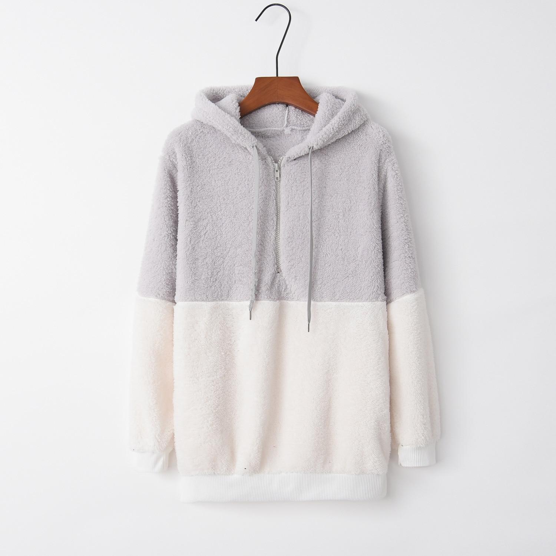 Patchwork Grey Soft 2020 New Design Hot Sale Hoodies Sweatshirts Women Casual Kawaii Harajuku Sweat Girls European Tops Korean