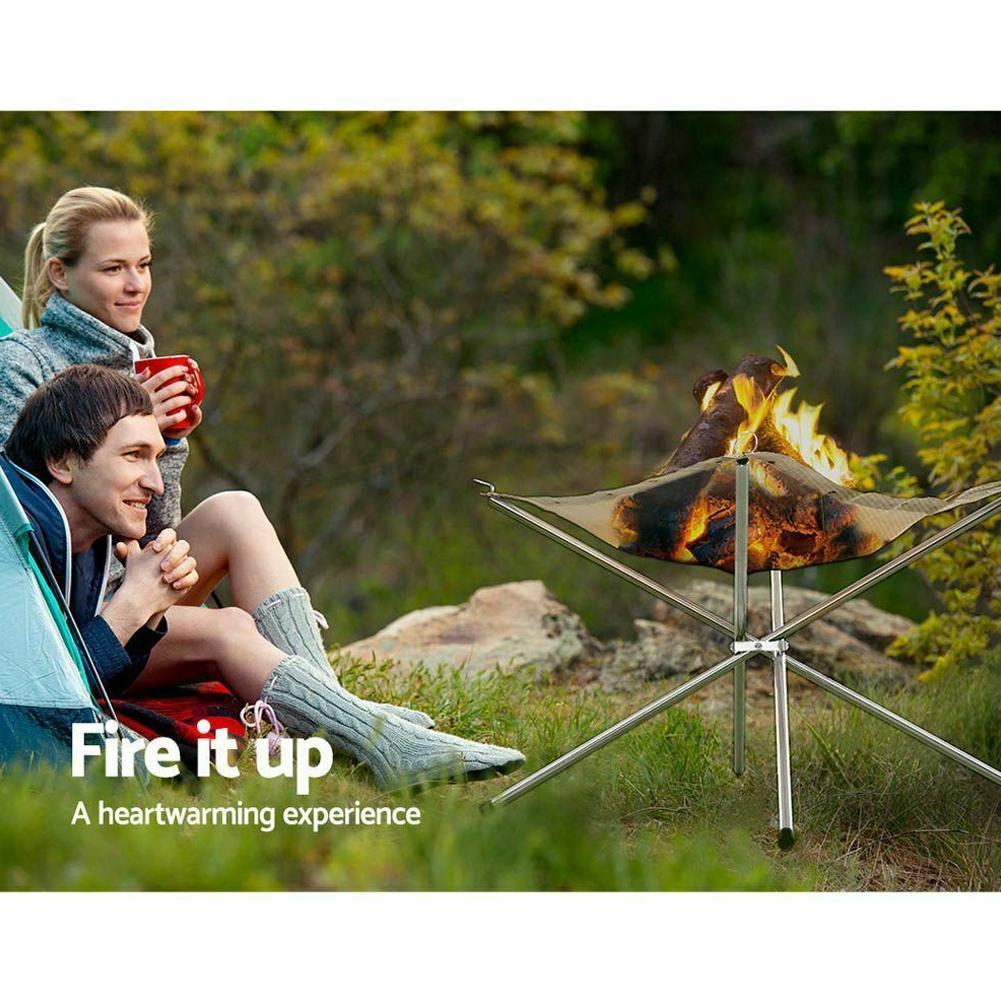 Portable Outdoor Fire Pit Folding Bonfire Rack Camping Incinerator Burning Wood Stove Barbecue Fire C7J7