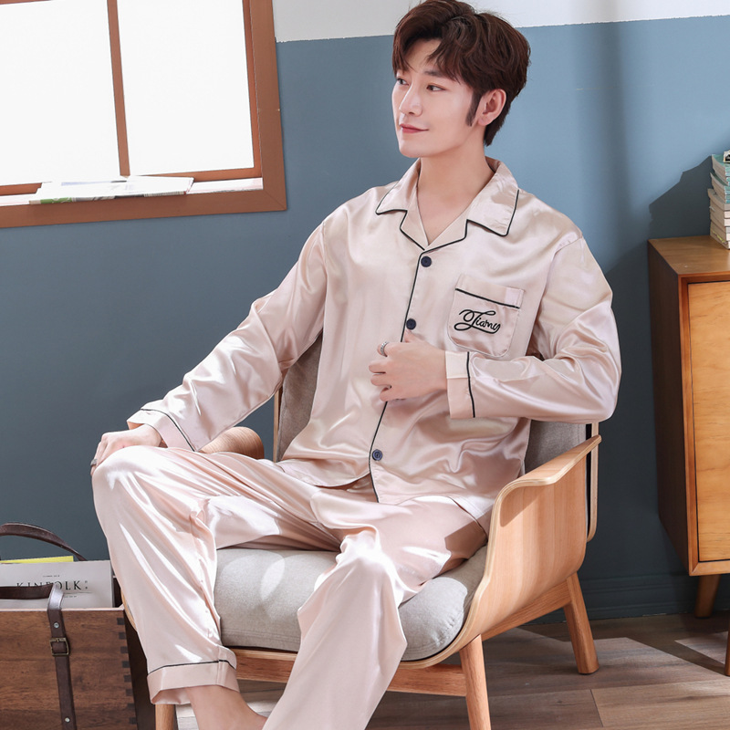 Pajamas Men Summer Viscose Thin Long Sleeve Men's Tracksuit Spring And Autumn Model Silk Set 621 Beige