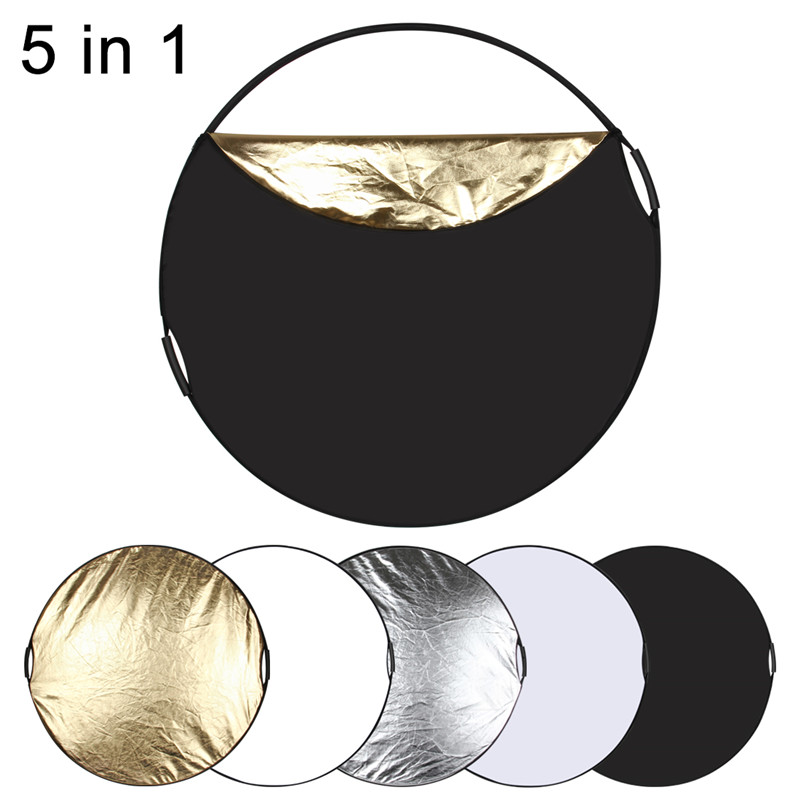 Dia 60cm Portable Reflector Disc Collapsible Video Lighting 5 In 1 With Bag Folding Reflective Panel Photography Light Panel