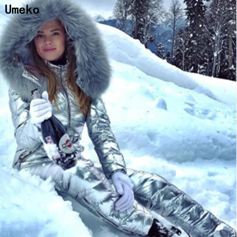 Umeko Fashion Winter Hooded Jumpsuits Parka Cotton Padded Warm Sashes Ski Suit Straight Zipper One Piece Women Casual Tracksuits