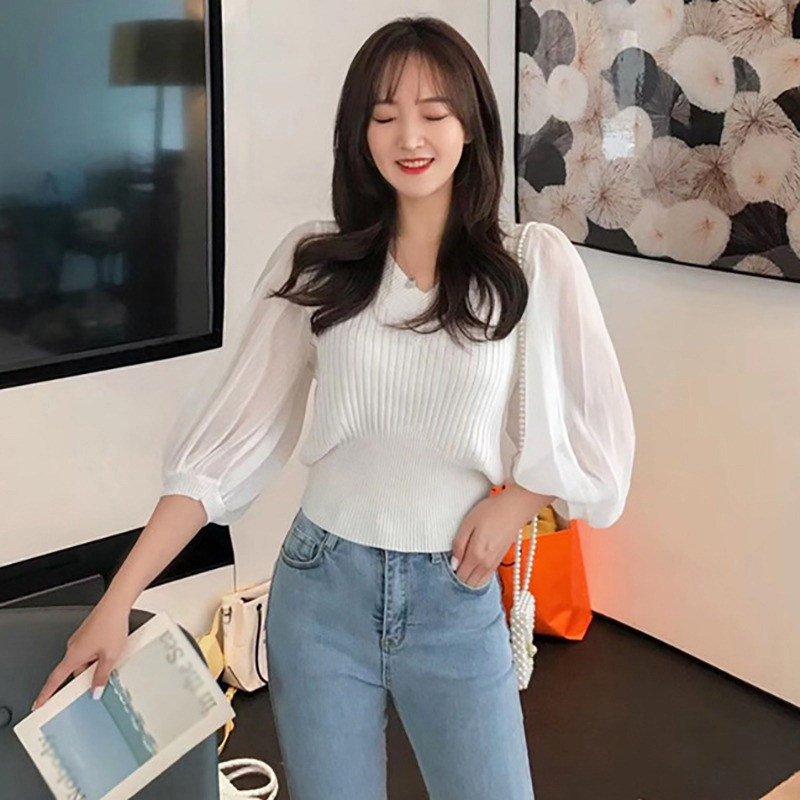 Spring Knit Sweater Women Korean Slim Solid Color Base Shirt Pullover Ladies V Neck Patchwork Lantern Sleeve Casual Sweaters