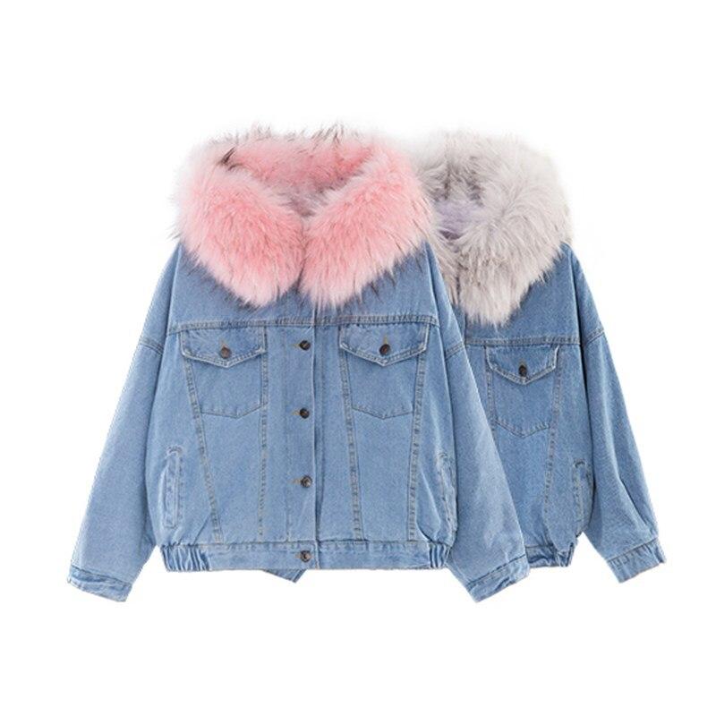 Winter jacket women velvet thick denim female winter big fur collar Korean locomotive lamb coat student short parkas