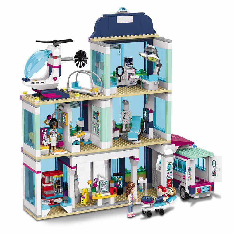 New 932pcs Friends Girl Series 41318 Legoings Model Building Blocks Toys Heartlake Hospital Kids Bricks Toy Girl Gifts
