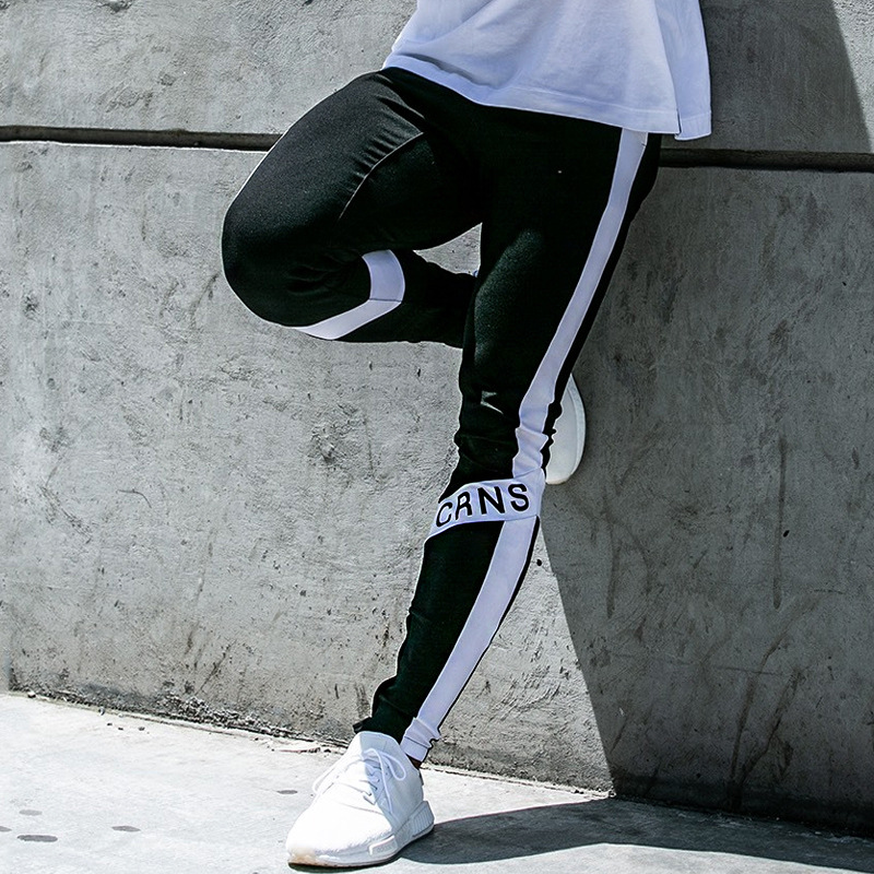 Men Fitness Pants Male Spring And Autumn Sports Sweatpants Leisure Running Exercise Stitching Cotton Hight Stretch Pants