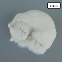 beautiful real life sleeping cat model plastic&furs cute white doll gift about 25x20x11cmxf1385