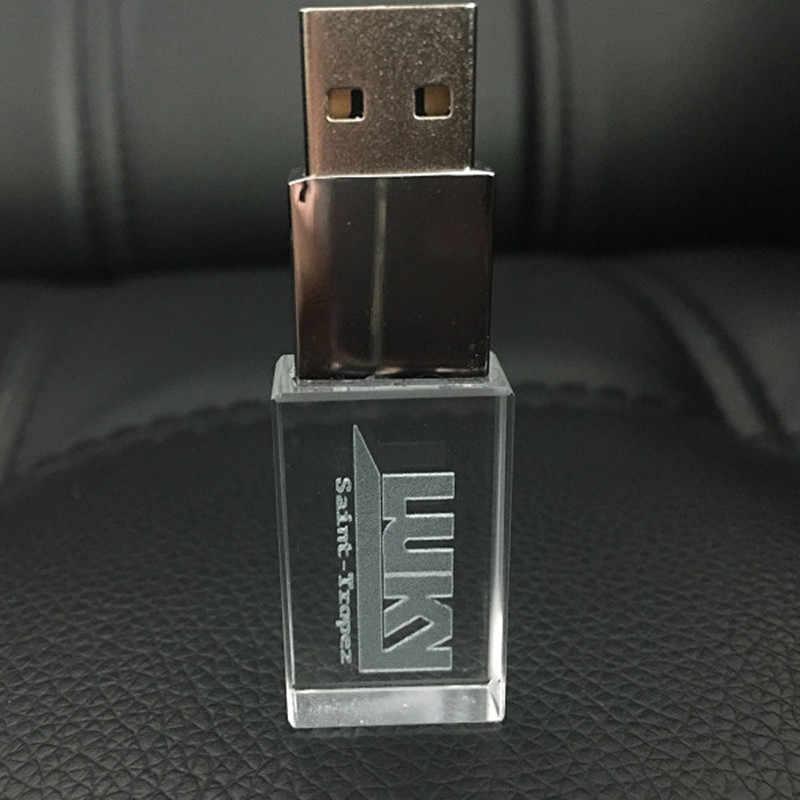 Iyi görünümlü kristal USB 2.0 koltuk araba logosu 4GB 8GB 16GB 32GB USB Flash sürücü hafıza belleği kalem sürücü LED ile 64GB 128GB hediye