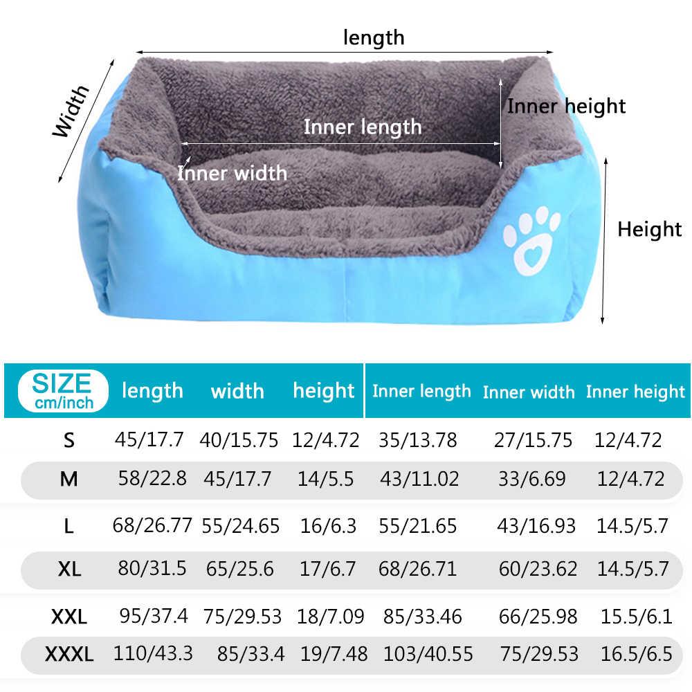 S-3XL 9 צבעים Paw ספה לחיות מחמד מיטות לכלבים עמיד למים תחתון רך צמר חם חתול מיטת בית גדול כלבי מחמד בית עמיד למים תחתון